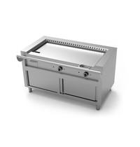 UNNINOX Teppanyaki grillplaat gas op kast met schuifdeuren | 17 kW/h | 2 brander | 1740x770x850(h)mm