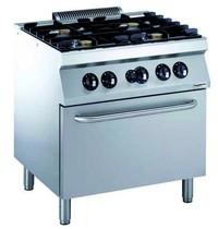 CombiSteel Pro 700 gas fornuis 4 branders 4x 5,5 kW/h | Met gas oven 6 kW/h | 800x700x850(h)mm