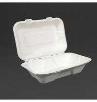 Vegware Composteerbare voedseldozen met scharnierdeksel 22,8cm | 200 stuks | 228x155x74(h)mm