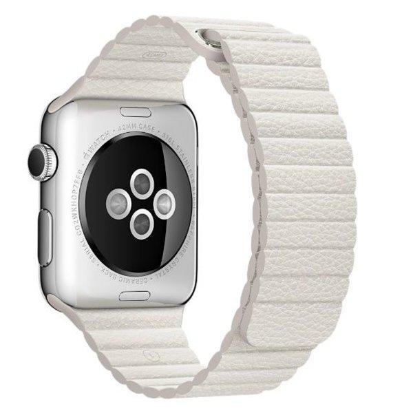 123Watches Apple Watch PU leder rippe band - weiß