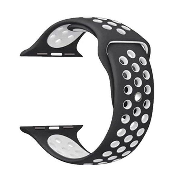 123Watches Apple watch doppelt sport bandje - schwarz weiß