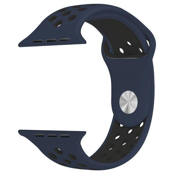 123Watches Apple watch doppelt sport bandje - mitternachtsblau schwarz