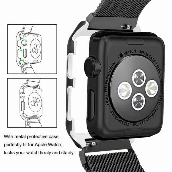 123Watches Apple watch milanese case band - schwarz