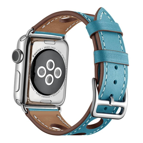 123Watches Apple watch leder hermes band - hellblau
