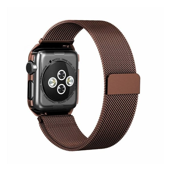 123Watches Apple watch milanese case band - braun