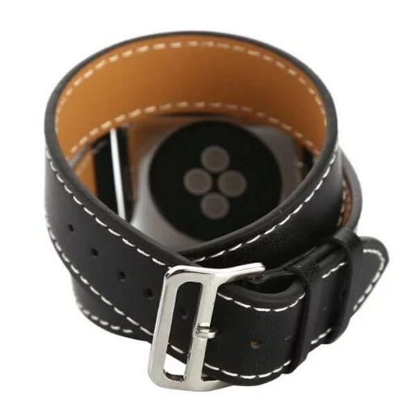 123Watches Apple watch leder lange schleife band - schwarz