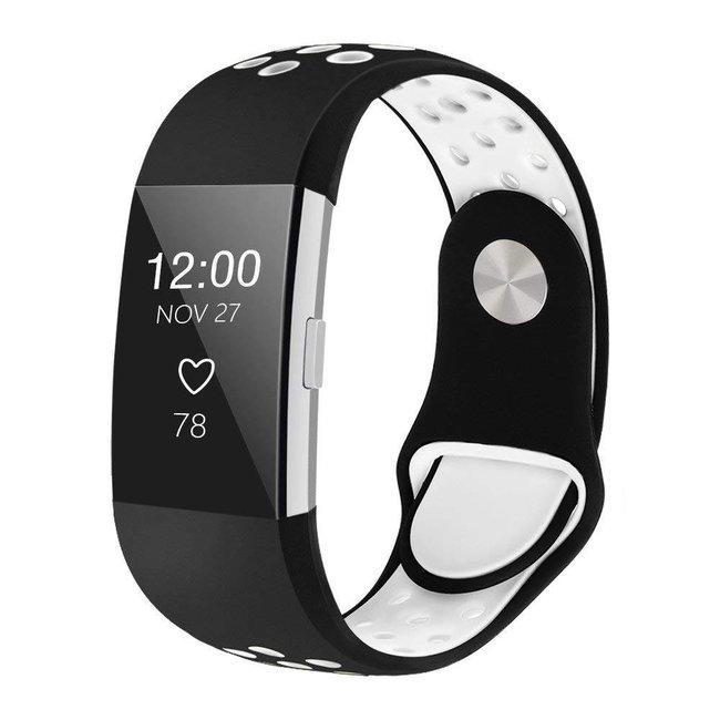 123watches Fitbit charge 2 sport band - schwarz weiß