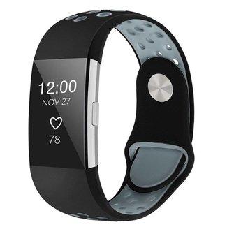 Marke 123watches Fitbit charge 2 sport band - schwarz grau