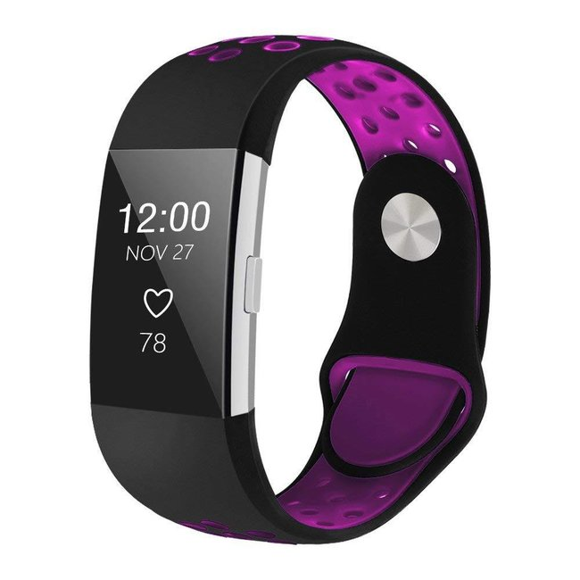 Marke 123watches Fitbit charge 2 sport band - schwarz lila