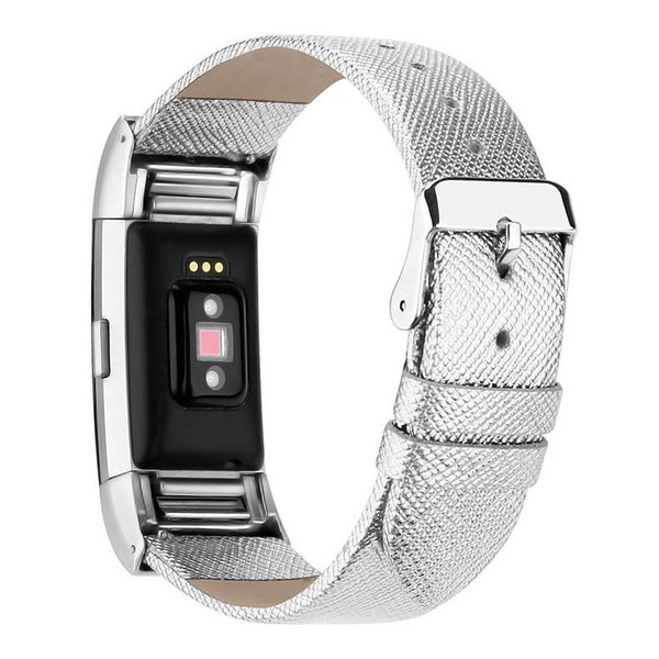 123Watches Fitbit charge 2 basic lederarmband - silber