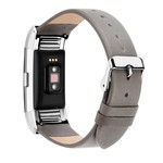 123Watches Fitbit charge 2 basic lederarmband - grau