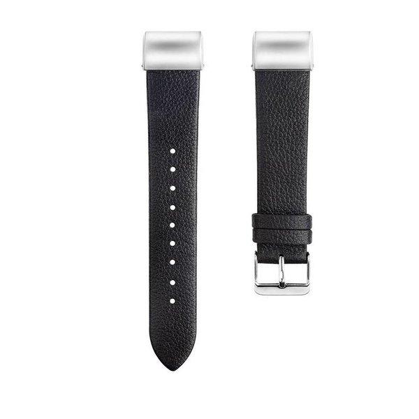 123Watches Fitbit charge 2 basic lederarmband - schwarz
