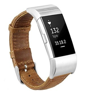 123watches Fitbit charge 2 genuine lederarmband - hellbraun