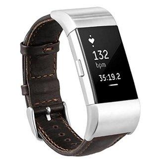 123watches Fitbit charge 2 genuine lederarmband - dunkelbraun