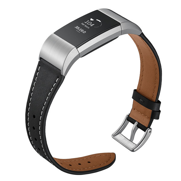 123Watches Premium Fitbit Leder Lederband 2 - schwarz