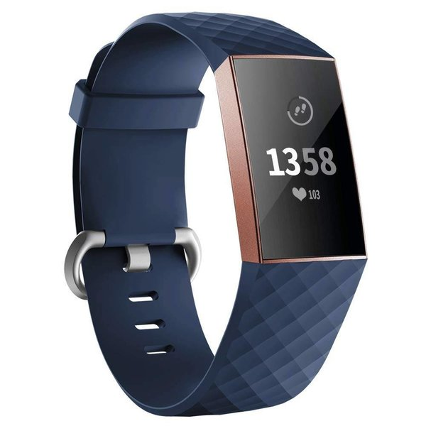 123Watches Fitbit charge 3 & 4 sport waffel band - dunkelblau