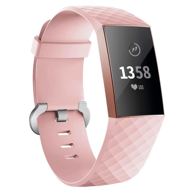 Marke 123watches Fitbit charge 3 & 4 sport waffel band - pink
