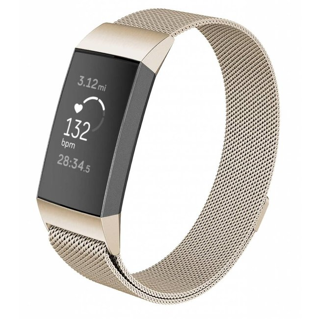 123watches Fitbit charge 3 & 4 milanese band - retro gold