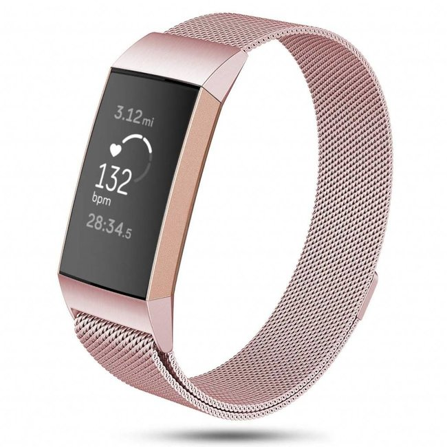 Marke 123watches Fitbit charge 3 & 4 milanese band - pink