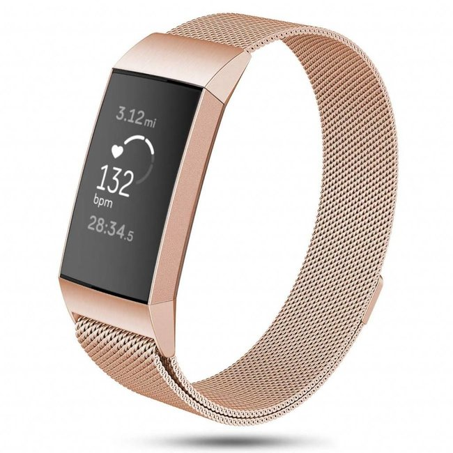123watches Fitbit charge 3 & 4 milanese band - rotgold