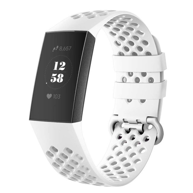 123watches Fitbit charge 3 & 4 sport point band - weiß