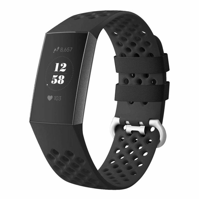 123watches Fitbit charge 3 & 4 sport point band - schwarz