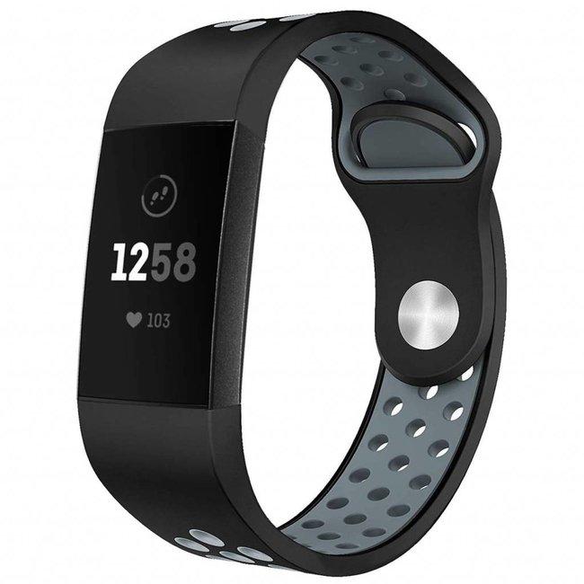 Marke 123watches Fitbit Charge 3 & 4 sport band - schwarz grau