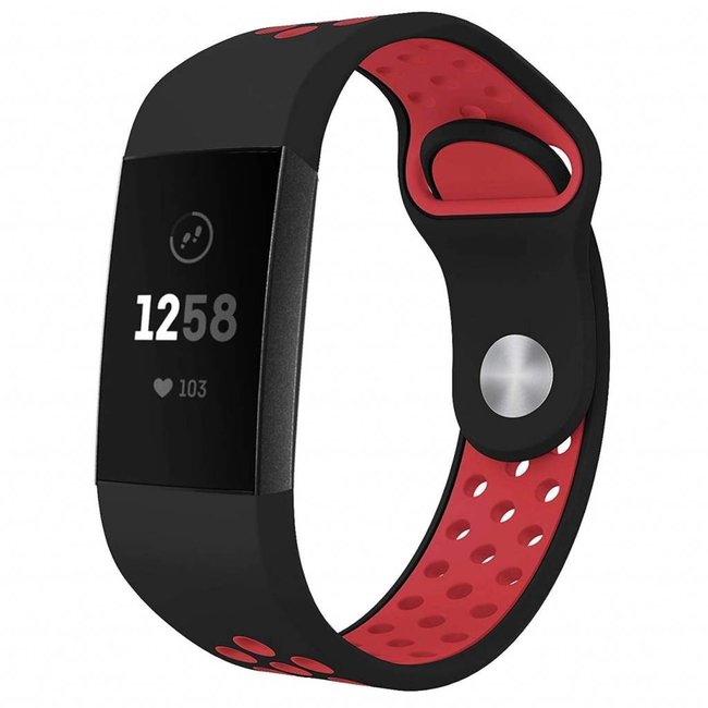 Marke 123watches Fitbit Charge 3 & 4 sport band - schwarz rot
