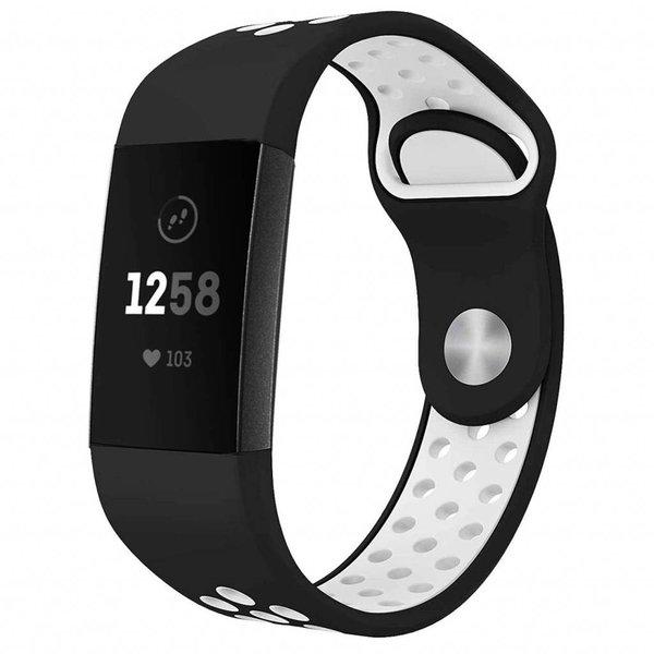 123Watches Fitbit Charge 3 & 4 sport band - schwarz und weiß