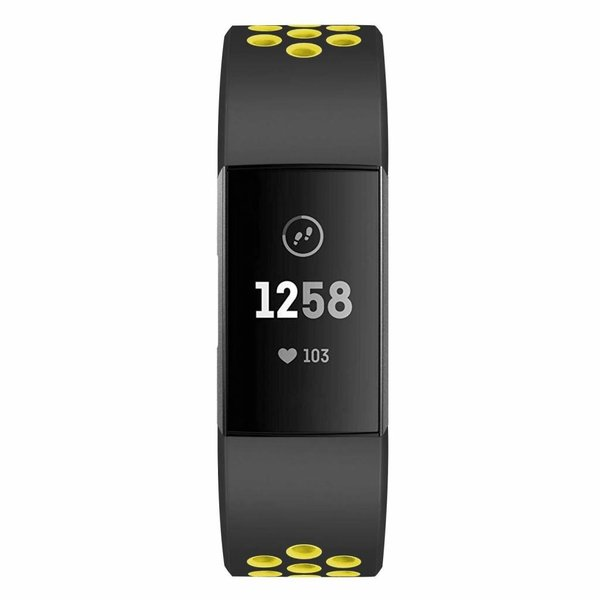 123Watches Fitbit charge 3 & 4 sport band - schwarz gelb