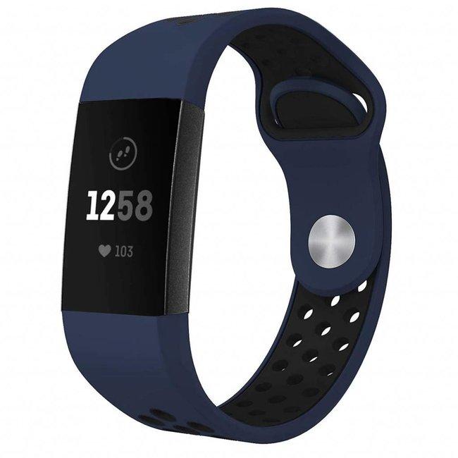 123watches Fitbit Charge 3 & 4 sport band - dunkelblau schwarz