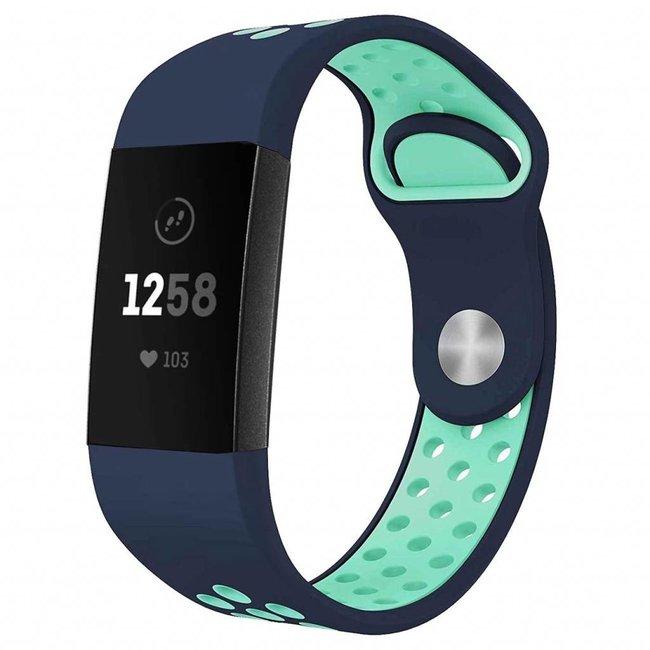 123watches Fitbit Charge 3 & 4 sport band - dunkelblau hellblau