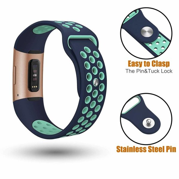 123Watches Fitbit Charge 3 & 4 sport band - dunkelblau hellblau