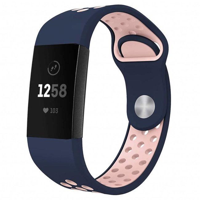 Marke 123watches Fitbit Charge 3 & 4 sport band - dunkelblaues Pink