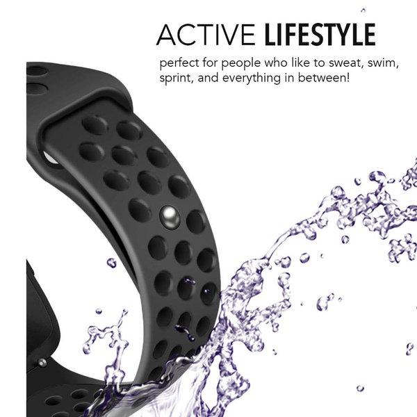 123Watches Fitbit versa doppelt sport band - schwarz schwarz