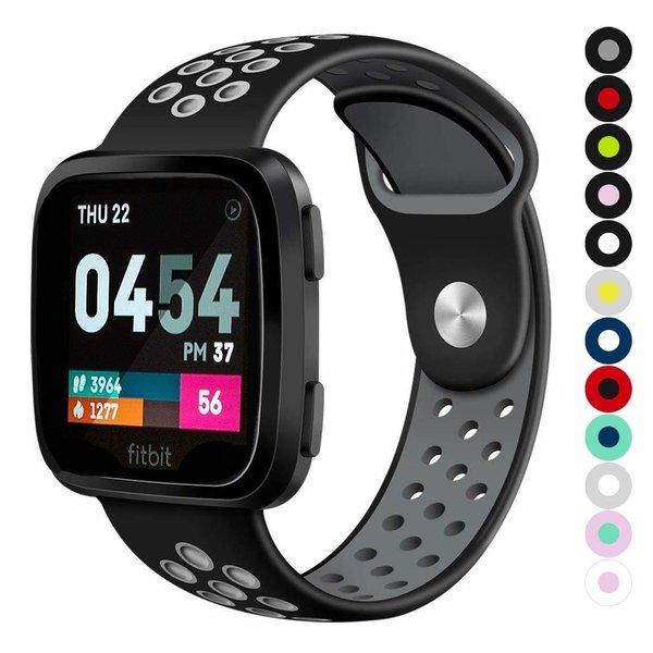 123Watches Fitbit versa doppelt sport band - schwarz grau