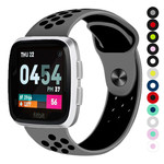 123Watches Fitbit versa doppelt sport band - grau schwarz