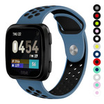 123Watches Fitbit versa doppelt sport band - dunkelblaues schwarz