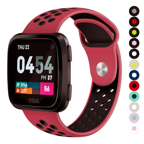 123Watches Fitbit versa doppelt sport band - rotes schwarz