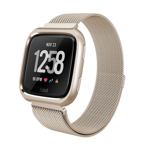 123Watches Fitbit versa milanese case band - champagner