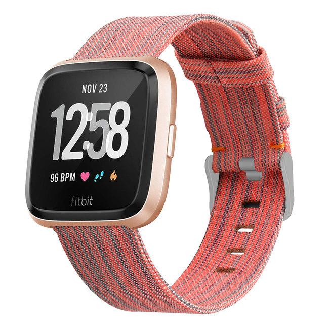 123watches Fitbit versa nylon gesp band - orange gestreift