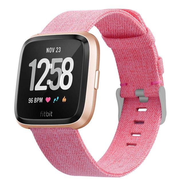 Fitbit versa nylon gesp band - pink