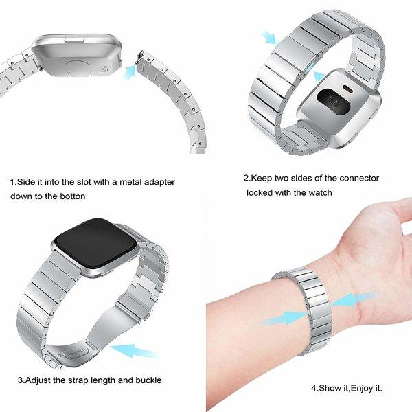 123Watches Fitbit versa stahlgliederband - silber