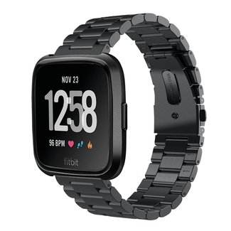 Marke 123watches Fitbit versa 3 perlen stahlgliederband - schwarz