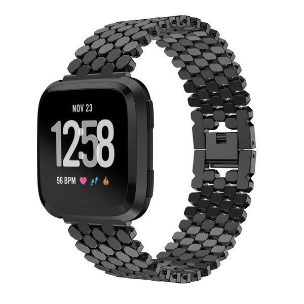123Watches Fitbit versa fisch stahlgliederband - schwarz