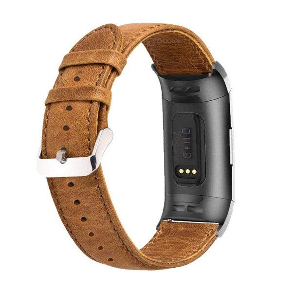 123Watches Fitbit charge 3 & 4 original- lederarmband - hellbraun
