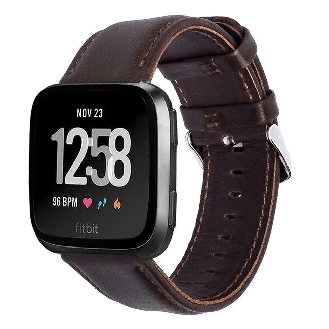 123watches Fitbit Versa genuine lederarmband - dunkelbraun