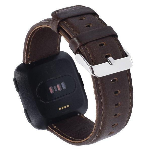 123Watches.de Fitbit Versa genuine lederarmband - dunkelbraun