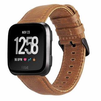 Marke 123watches Fitbit Versa original lederarmband - hellbraun