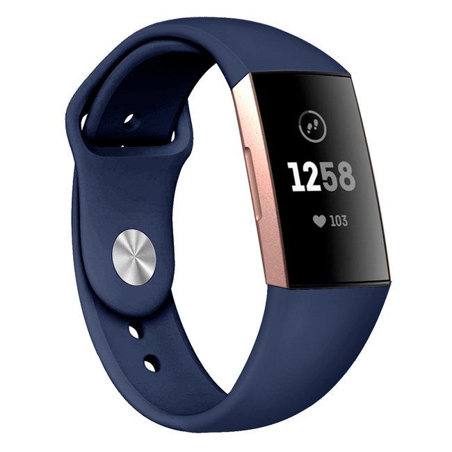 Marke 123watches Fitbit Charge 3 & 4 Sport Silikonband - dunkelblau